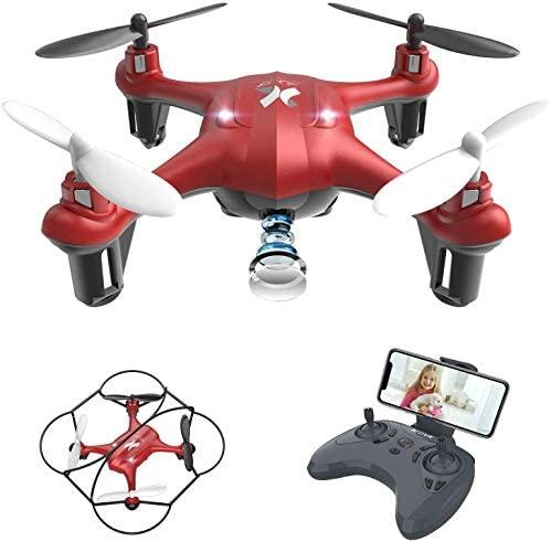 ATOYX AT-96 Drone avec Caméra HD FPV Drone Enfant WiFi Hélicoptère Télécommande avec Mode sans Tête, Maintien d'Altitude, 360°Flips, Mini Cadeau et Jouet pour Enfant ou Débutant - Rouge