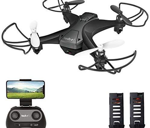 tech rc Drone avec Caméra HD, Drone Caméra Temps de Vol de 20 Minutes, 360°Flips, 2 Batteries, Mode sans Tête, Maintien de l'altitude pour Débutants & Enfants
